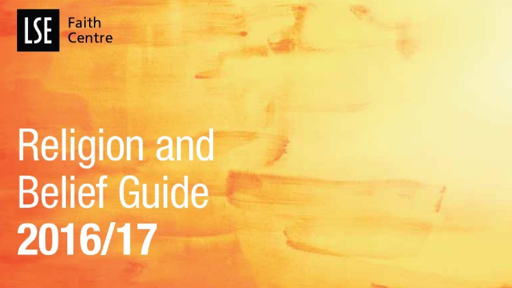 Orange and yellow front cover of the Religion and Belief Guide booklet 2016/17.