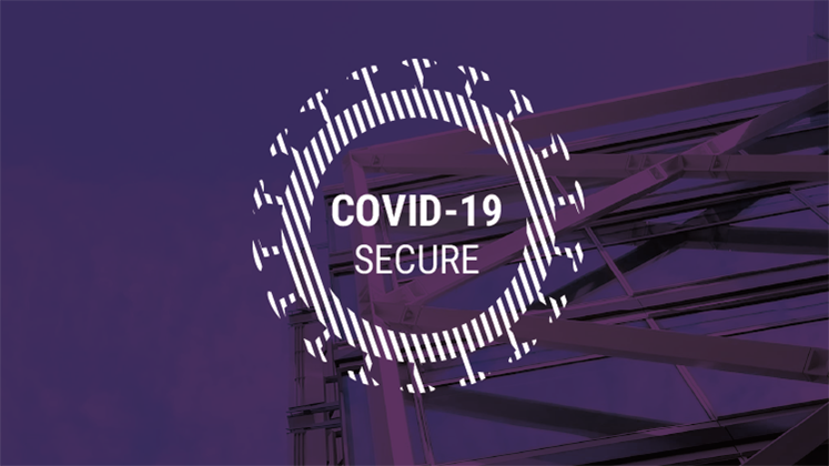 White logo reading 'COVID-19 secure' on a purple background