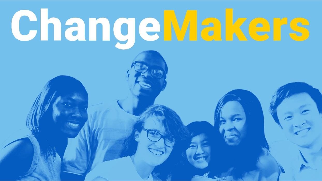 A group of students with a blue overlay and the caption 'Change Makers'
