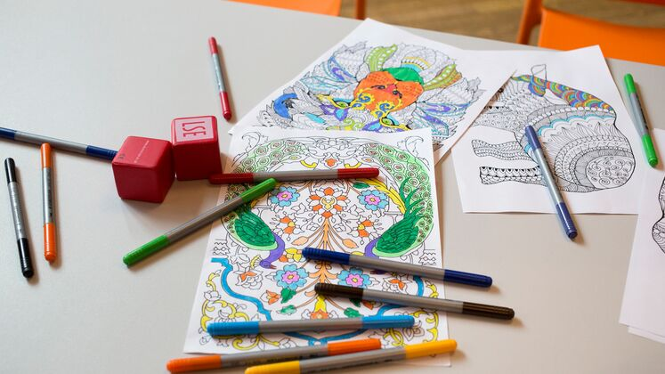 Colouring books and pens