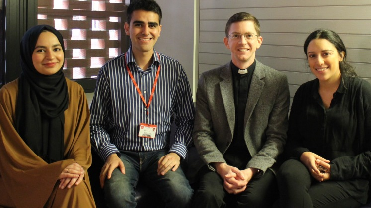 Four members of the Faith Centre Staff Team, from left to right, Sofia Jamal, Luiz Benitez-Gonzalez, Revd James Walters, Esther Kersley.
