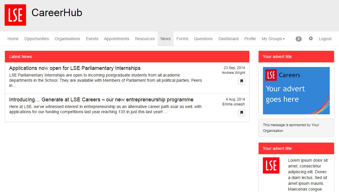 Screenshot showing an advert in the sidebar of a CareerHub page