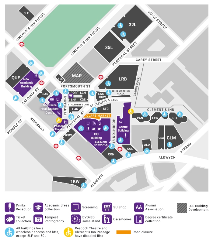 A map of graduation locations around the LSE Campus