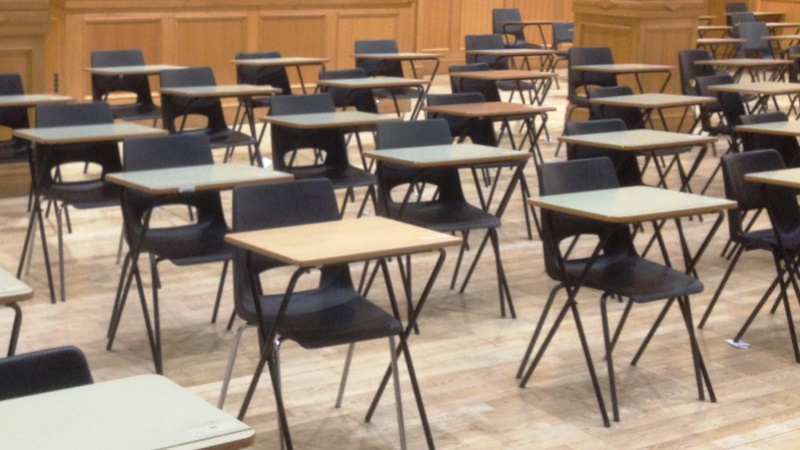 desks set up for exams