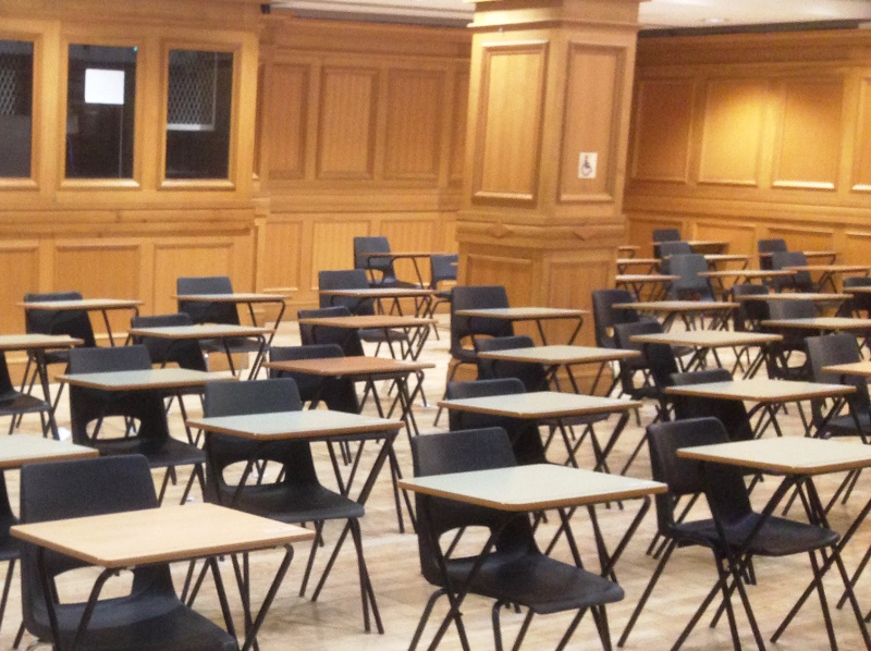 A room set out for exams