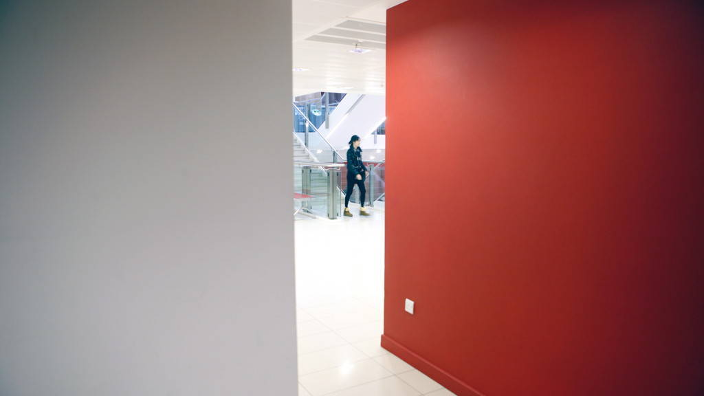 new academic building red wall