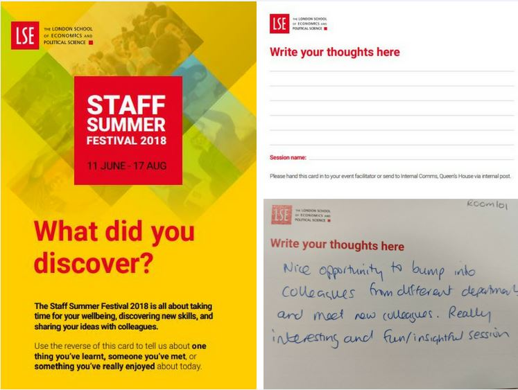 Staff Summer Festival feedback postcards