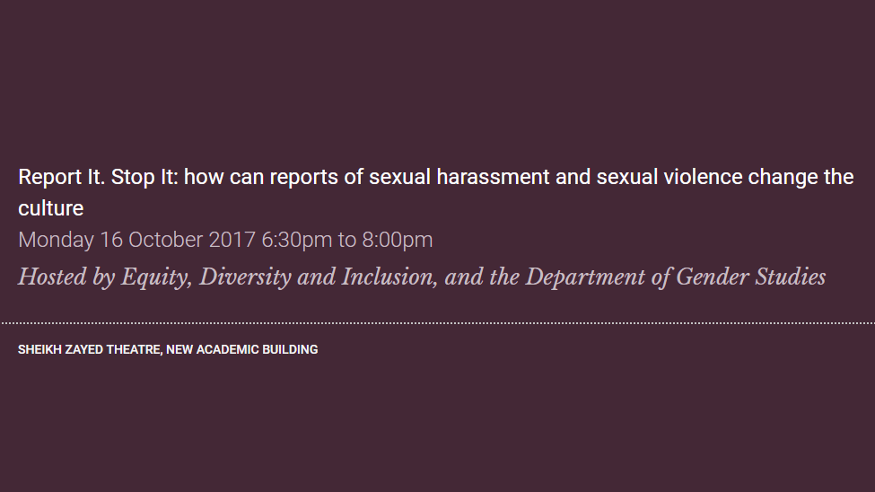 Report It-Stop It-how can reports of sexual harassment and sexual violence change the culture