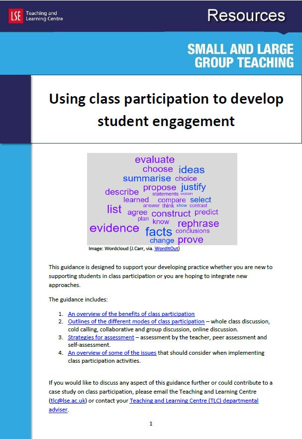 Using class participation image for promotion