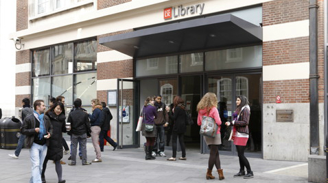 Students gather outside the LSE Library
