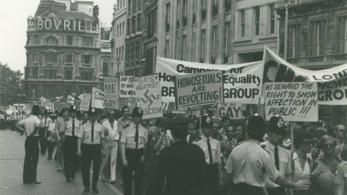 People marching during a gay pride march during 1974