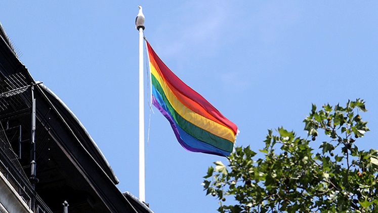 Pride flag Connaught House by Nigel Stead LSE