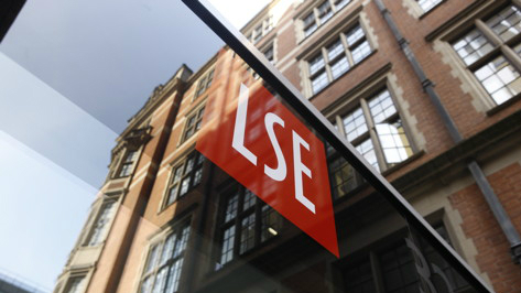 The LSE logo at the entrance to 32 Lincoln's Inn Fields